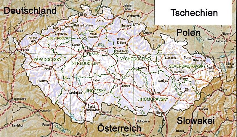 Landkarte Tschechien mit Straßenkarte und Satellitenperpektive