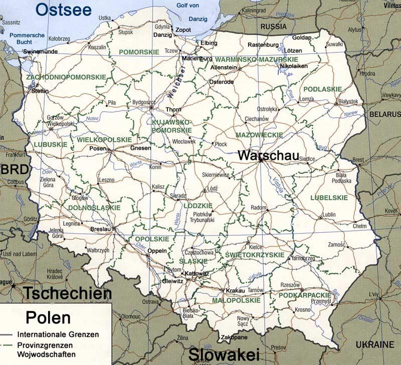 Polen Karte.Polen Karte